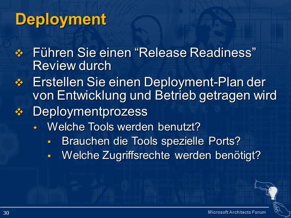 Microsoft Architects Forum 30 Deployment Führen Sie einen Release Readiness Review durch Führen Sie einen Release Readiness Review durch Erstellen Sie einen Deployment-Plan der von Entwicklung und Betrieb getragen wird Erstellen Sie einen Deployment-Plan der von Entwicklung und Betrieb getragen wird Deploymentprozess Deploymentprozess Welche Tools werden benutzt.