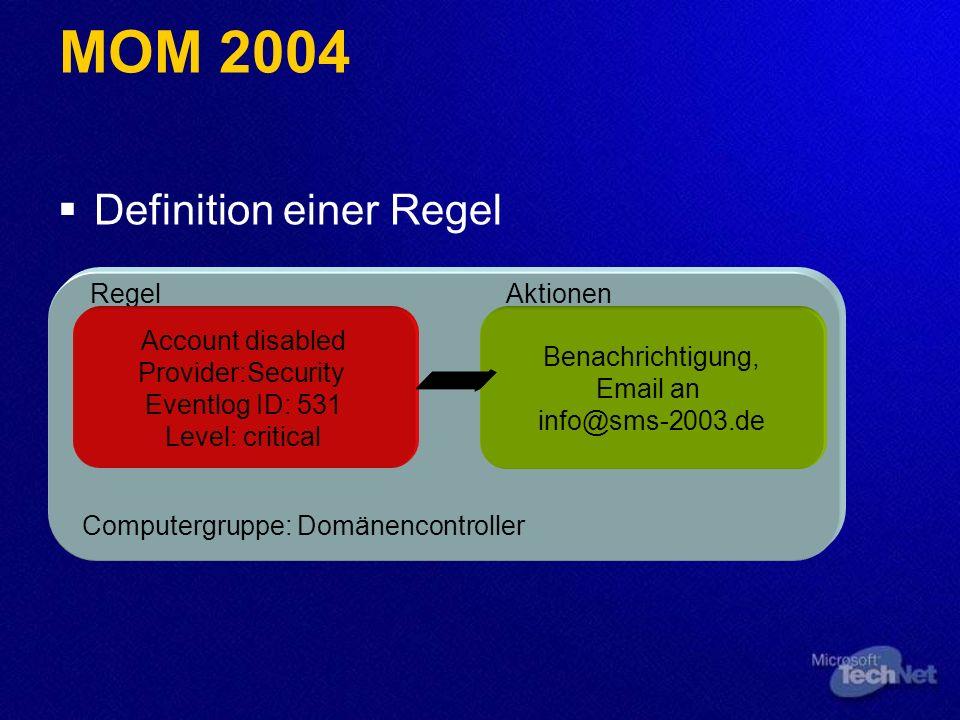 Definition einer Regel Computergruppe: Domänencontroller Regel Account disabled Provider:Security Eventlog ID: 531 Level: critical Aktionen Benachrich