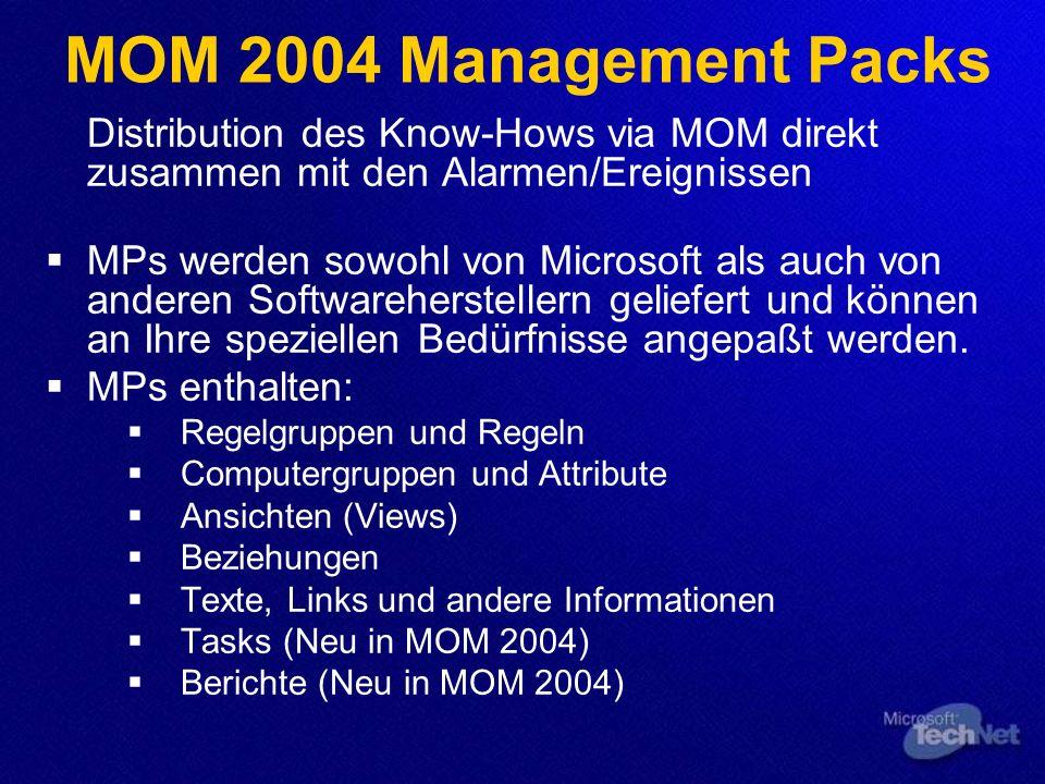 MOM 2004 Management Packs Distribution des Know-Hows via MOM direkt zusammen mit den Alarmen/Ereignissen MPs werden sowohl von Microsoft als auch von