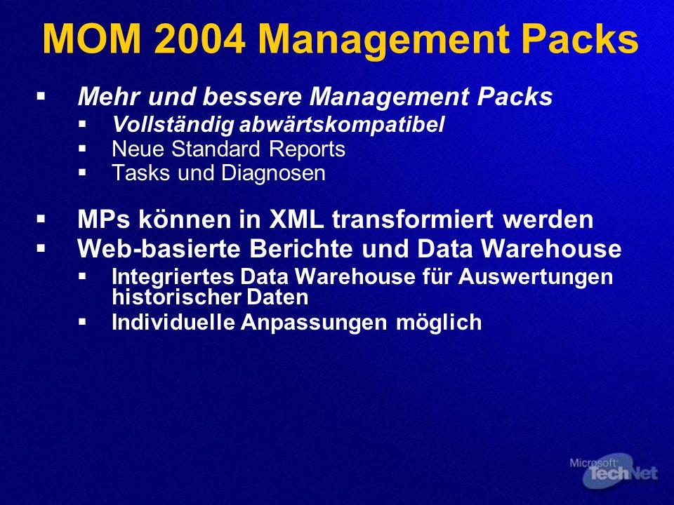 MOM 2004 Management Packs Mehr und bessere Management Packs Vollständig abwärtskompatibel Neue Standard Reports Tasks und Diagnosen MPs können in XML