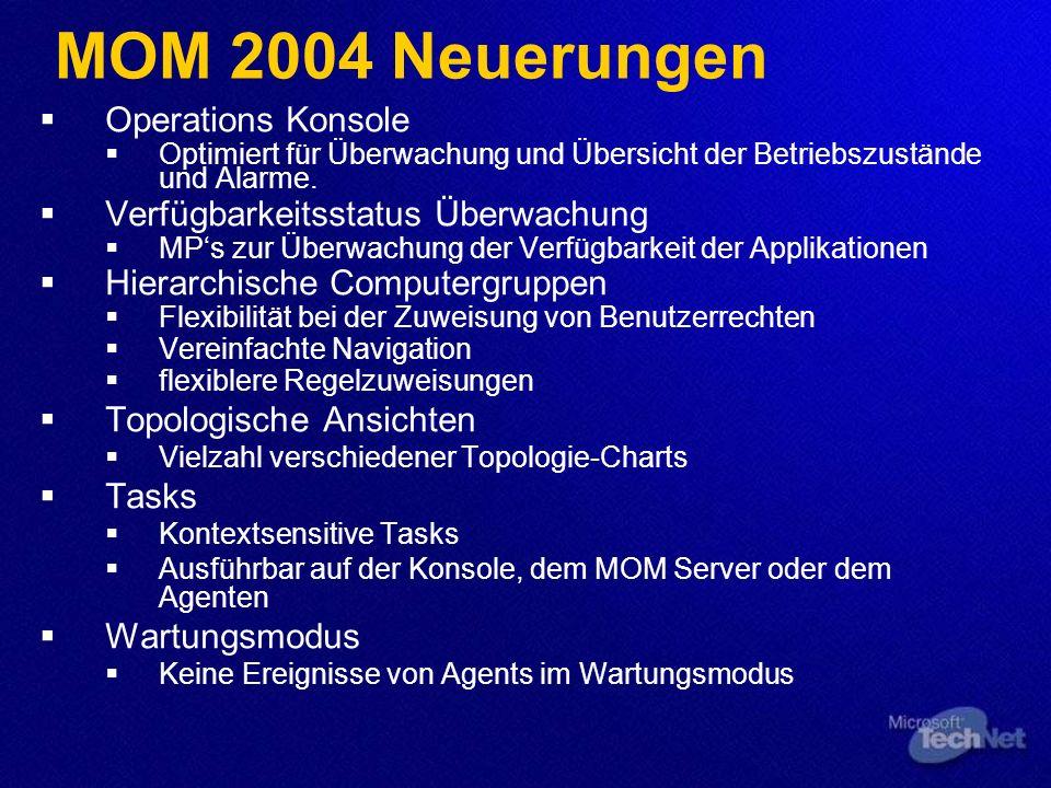 MOM 2004 Neuerungen Operations Konsole Optimiert für Überwachung und Übersicht der Betriebszustände und Alarme. Verfügbarkeitsstatus Überwachung MPs z
