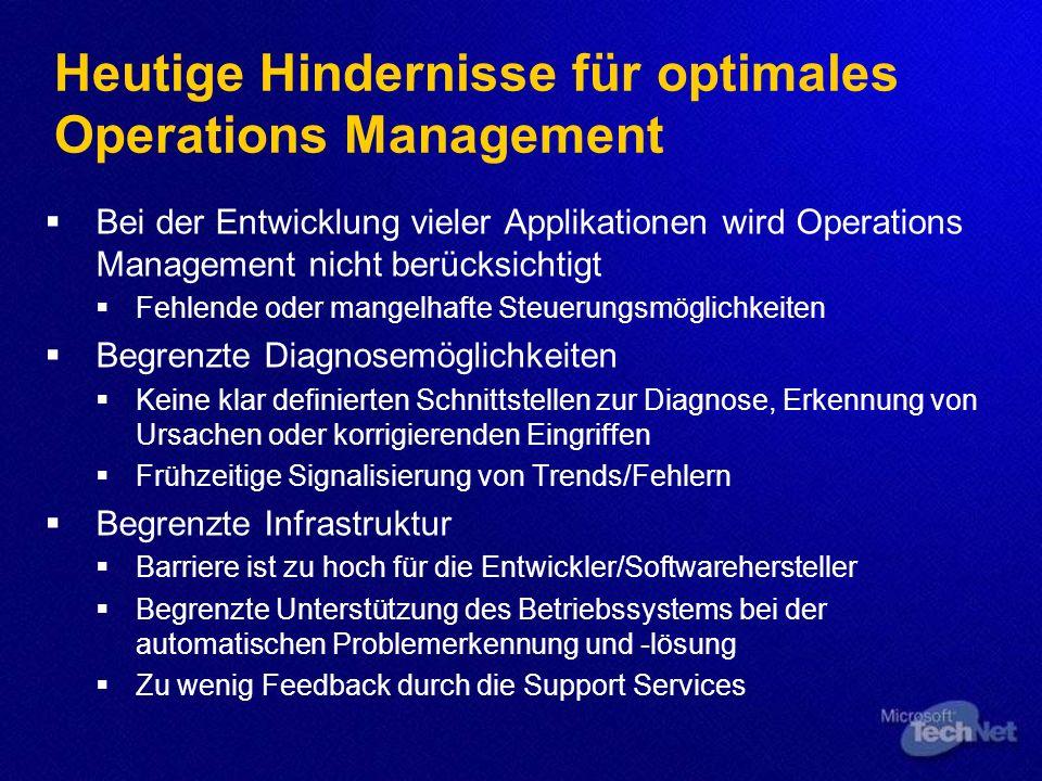 Heutige Hindernisse für optimales Operations Management Bei der Entwicklung vieler Applikationen wird Operations Management nicht berücksichtigt Fehle