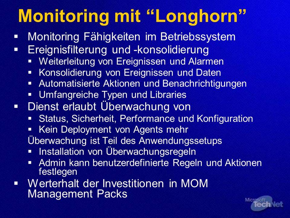 Monitoring mit Longhorn Monitoring Fähigkeiten im Betriebssystem Ereignisfilterung und -konsolidierung Weiterleitung von Ereignissen und Alarmen Konso