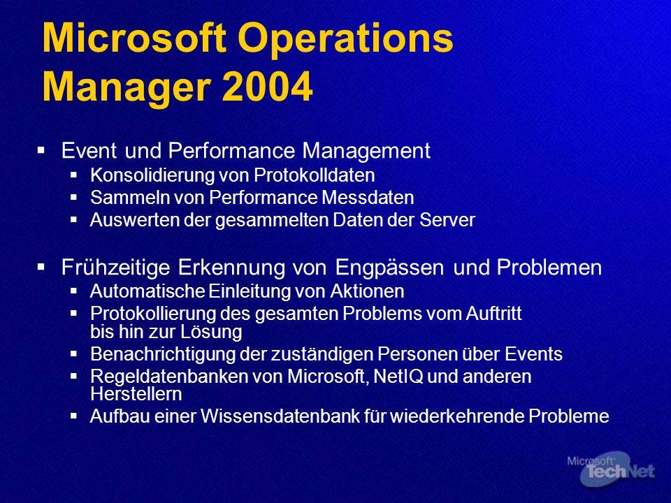 Microsoft Operations Manager 2004 Event und Performance Management Konsolidierung von Protokolldaten Sammeln von Performance Messdaten Auswerten der g