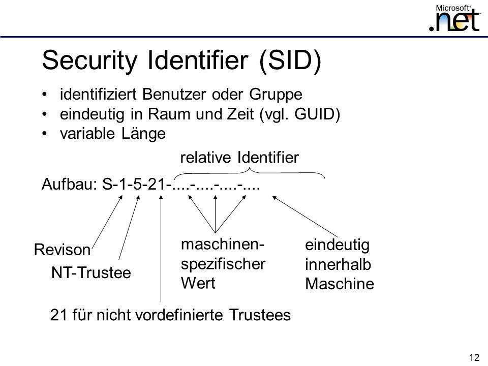 12 Security Identifier (SID) identifiziert Benutzer oder Gruppe eindeutig in Raum und Zeit (vgl.