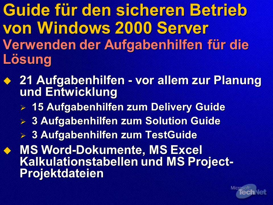 Guide für den sicheren Betrieb von Windows 2000 Server Verwenden der Aufgabenhilfen für die Lösung 21 Aufgabenhilfen - vor allem zur Planung und Entwi
