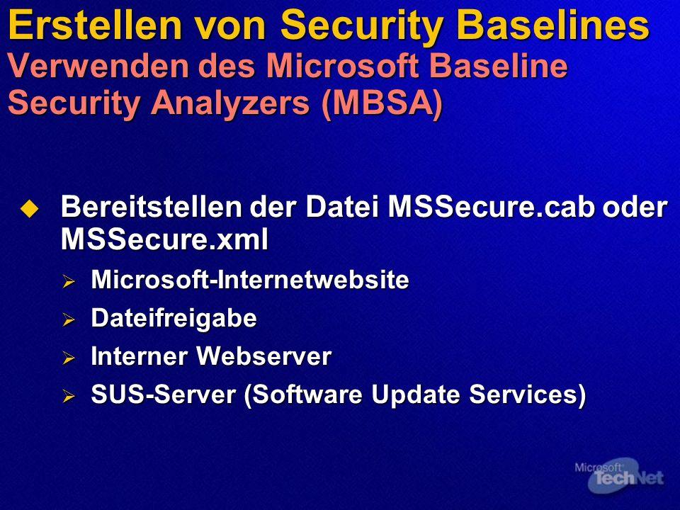 Erstellen von Security Baselines Verwenden des Microsoft Baseline Security Analyzers (MBSA) Bereitstellen der Datei MSSecure.cab oder MSSecure.xml Ber