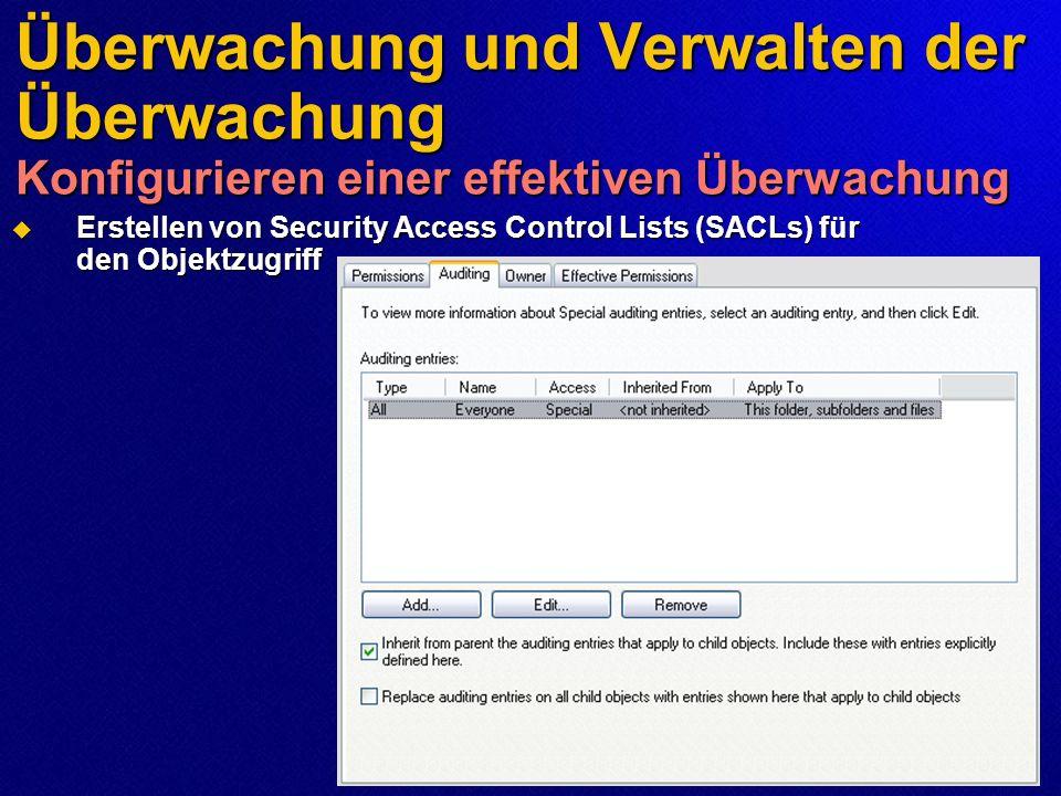 Überwachung und Verwalten der Überwachung Konfigurieren einer effektiven Überwachung Erstellen von Security Access Control Lists (SACLs) für den Objek