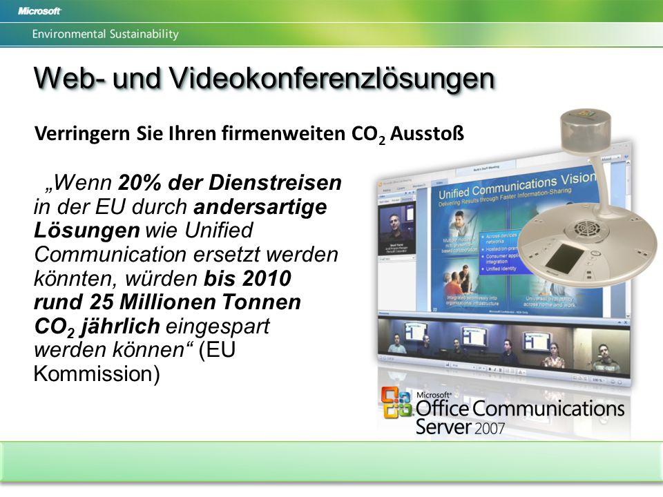 Wenn 20% der Dienstreisen in der EU durch andersartige Lösungen wie Unified Communication ersetzt werden könnten, würden bis 2010 rund 25 Millionen Tonnen CO 2 jährlich eingespart werden können (EU Kommission) Web- und Videokonferenzlösungen Verringern Sie Ihren firmenweiten CO 2 Ausstoß