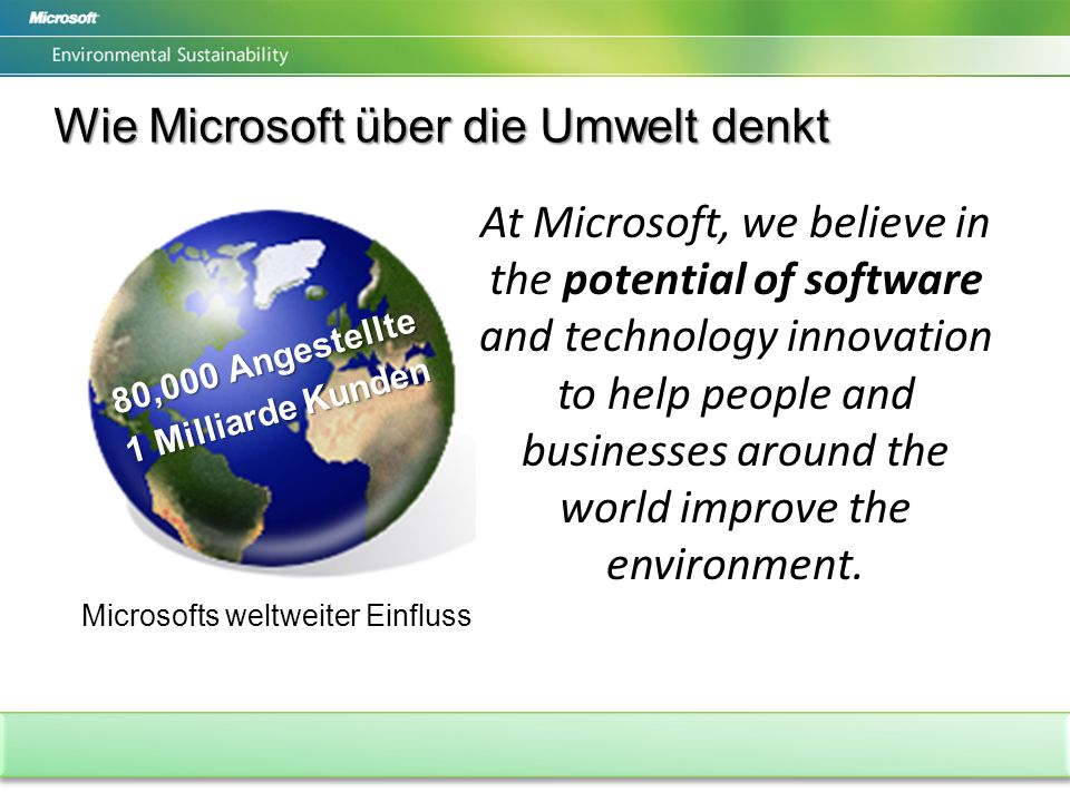 Wie Microsoft über die Umwelt denkt 80,000 Angestellte 1 Milliarde Kunden Microsofts weltweiter Einfluss At Microsoft, we believe in the potential of software and technology innovation to help people and businesses around the world improve the environment.