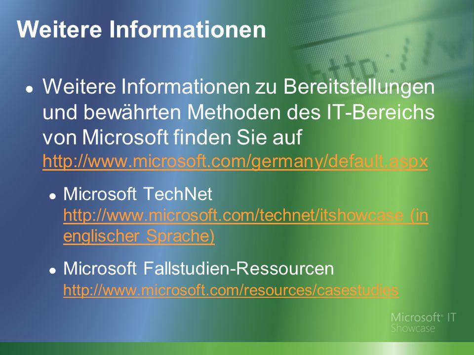 Weitere Informationen Weitere Informationen zu Bereitstellungen und bewährten Methoden des IT-Bereichs von Microsoft finden Sie auf http://www.microsoft.com/germany/default.aspx http://www.microsoft.com/germany/default.aspx Microsoft TechNet http://www.microsoft.com/technet/itshowcase (in englischer Sprache) http://www.microsoft.com/technet/itshowcase (in englischer Sprache) Microsoft Fallstudien-Ressourcen http://www.microsoft.com/resources/casestudies