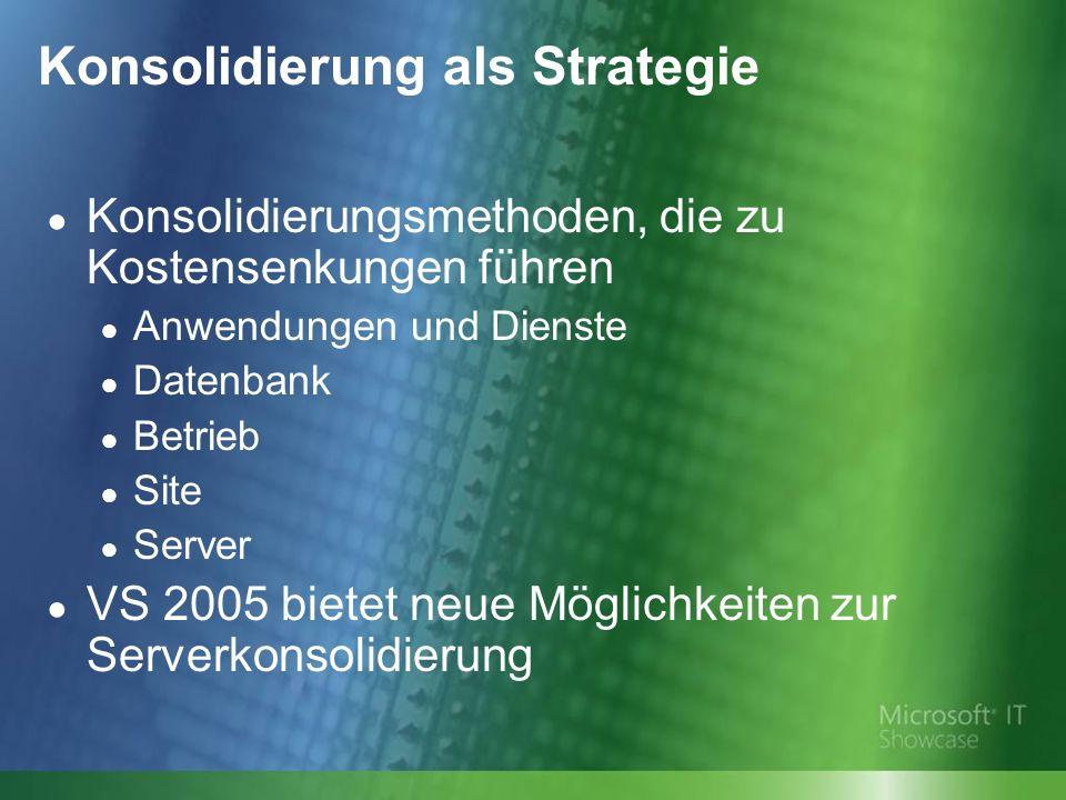 Konsolidierung als Strategie Konsolidierungsmethoden, die zu Kostensenkungen führen Anwendungen und Dienste Datenbank Betrieb Site Server VS 2005 bietet neue Möglichkeiten zur Serverkonsolidierung