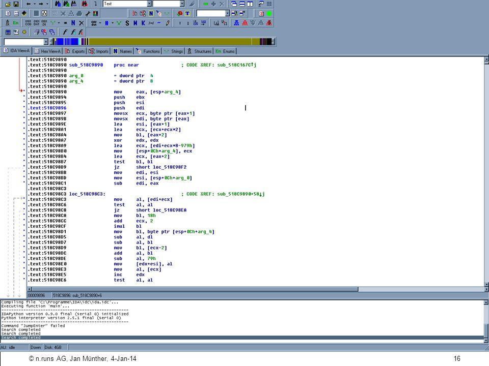Phase Drei: Design ( 9 / ) Design-Problem: Schlechte Kryptographie Obfuskation von gespeicherten Passwörtern Beispiel: CPIC-User für Synactive SAP GUI XT Passwort verschlüsselt in Registry abgelegt Algorithmus lässt sich disassemblieren Decoder 16© n.runs AG, Jan Münther, 4-Jan-14 Security Development Lifecycles - TechDays