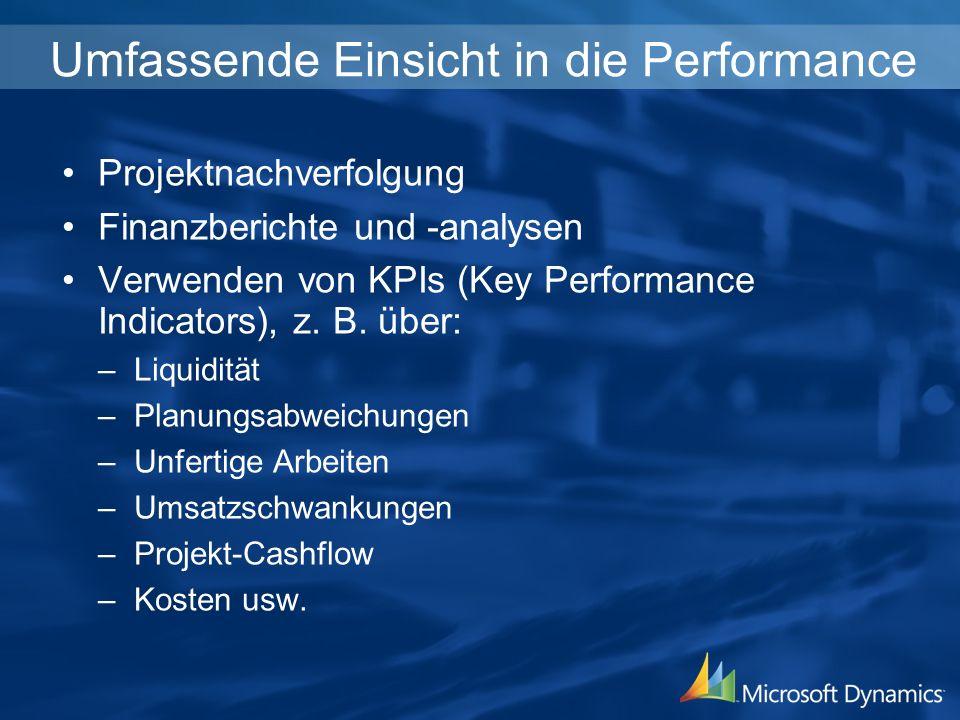 Umfassende Einsicht in die Performance Projektnachverfolgung Finanzberichte und -analysen Verwenden von KPIs (Key Performance Indicators), z.