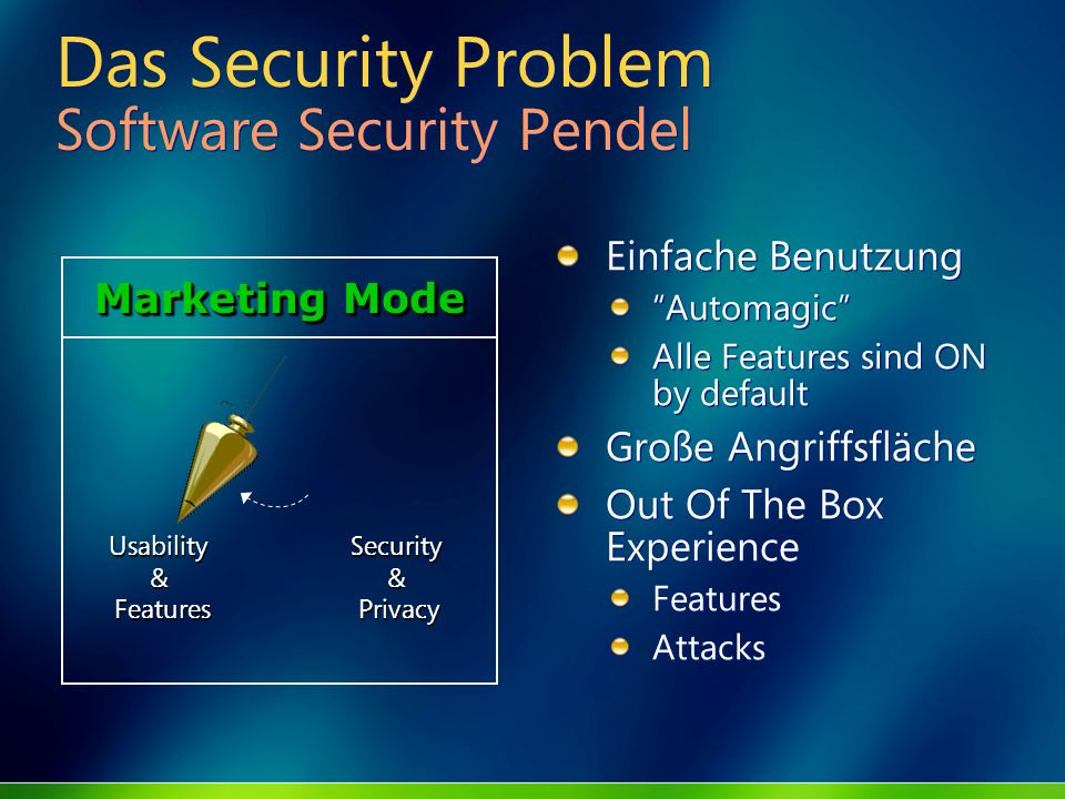 Das Security Problem Software Security Pendel Einfache Benutzung Automagic Alle Features sind ON by default Große Angriffsfläche Out Of The Box Experi