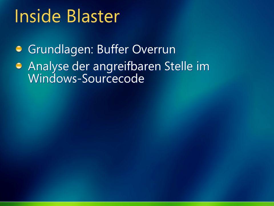 Inside Blaster Grundlagen: Buffer Overrun Analyse der angreifbaren Stelle im Windows-Sourcecode Grundlagen: Buffer Overrun Analyse der angreifbaren St