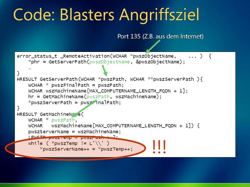 Code: Blasters Angriffsziel error_status_t _RemoteActivation(WCHAR *pwszObjectName,... ) { *phr = GetServerPath(pwszObjectName, &pwszObjectName); … }