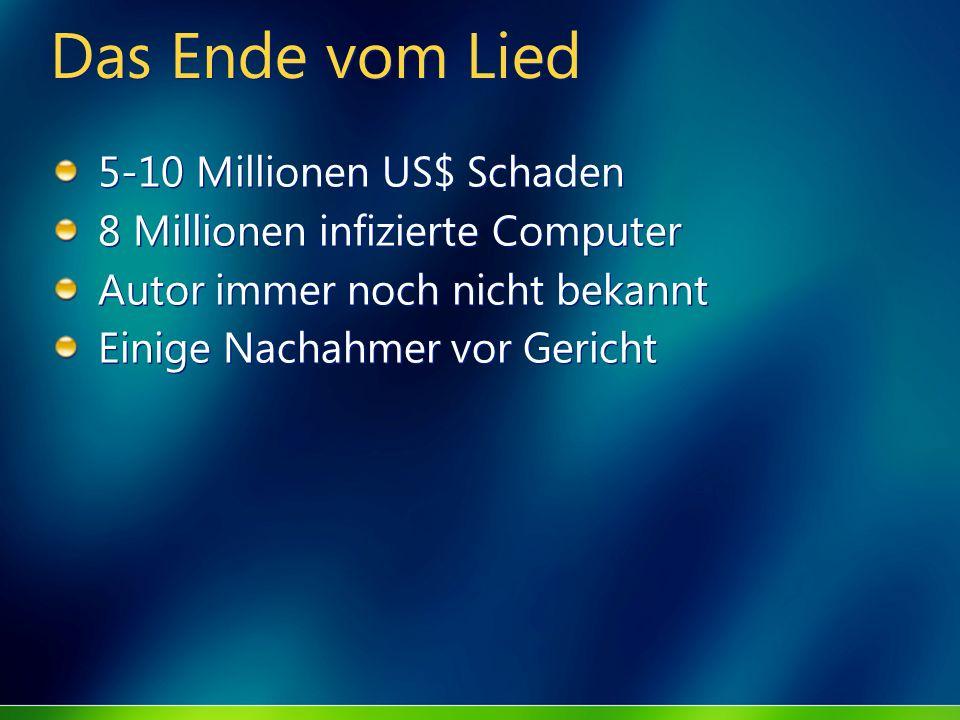 Das Ende vom Lied 5-10 Millionen US$ Schaden 8 Millionen infizierte Computer Autor immer noch nicht bekannt Einige Nachahmer vor Gericht 5-10 Millione