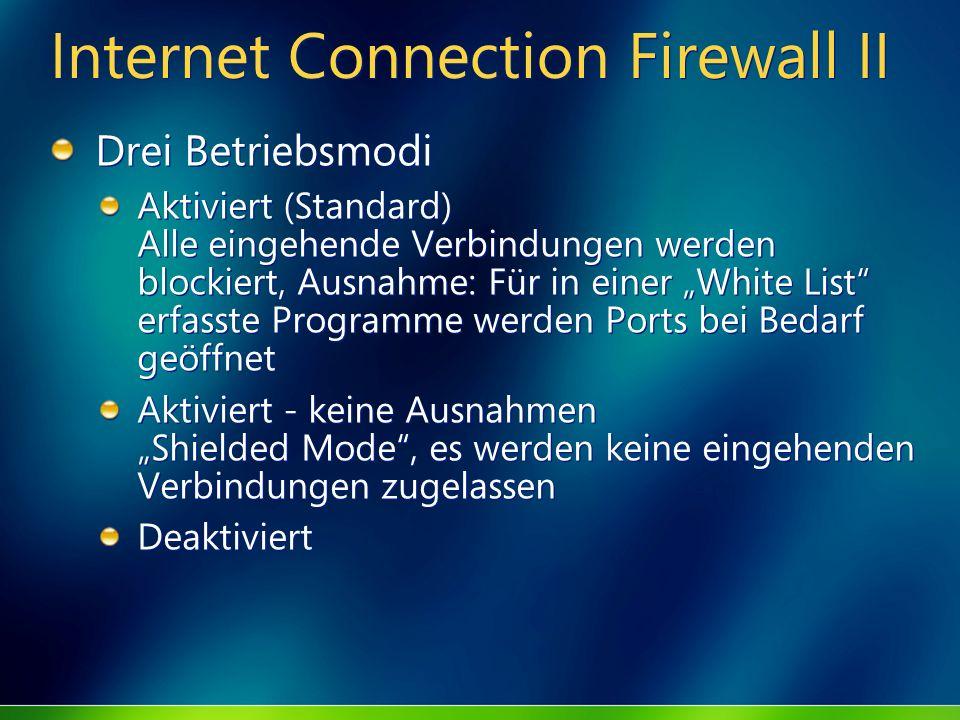 Internet Connection Firewall II Drei Betriebsmodi Aktiviert (Standard) Alle eingehende Verbindungen werden blockiert, Ausnahme: Für in einer White Lis