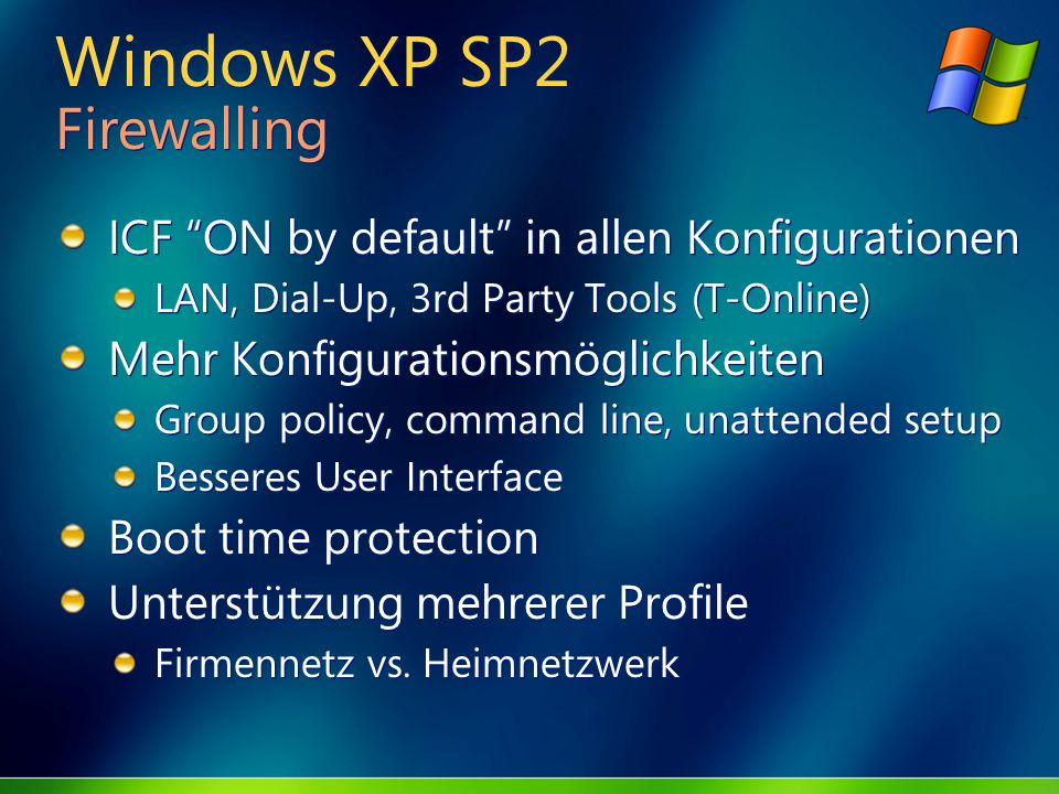 Windows XP SP2 Firewalling ICF ON by default in allen Konfigurationen LAN, Dial-Up, 3rd Party Tools (T-Online) Mehr Konfigurationsmöglichkeiten Group