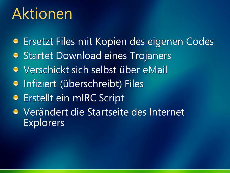 Aktionen Ersetzt Files mit Kopien des eigenen Codes Startet Download eines Trojaners Verschickt sich selbst über eMail Infiziert (überschreibt) Files