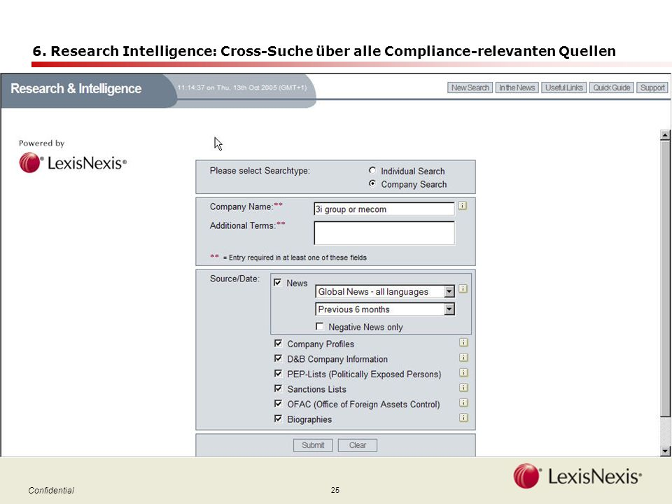 25 Confidential 6. Research Intelligence: Cross-Suche über alle Compliance-relevanten Quellen