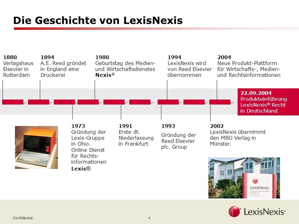 4 Confidential Die Geschichte von LexisNexis 1880 Verlagshaus Elsevier in Rotterdam 1973 Gründung der Lexis-Gruppe in Ohio.