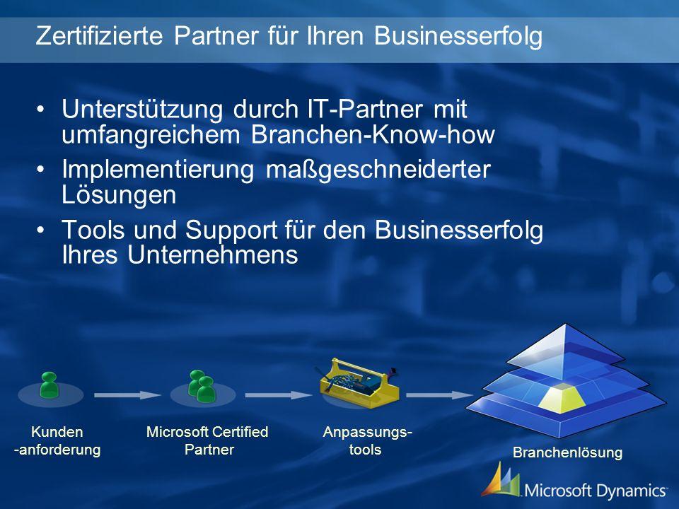 Kunden -anforderung Microsoft Certified Partner Anpassungs- tools Branchenlösung Zertifizierte Partner für Ihren Businesserfolg Unterstützung durch IT