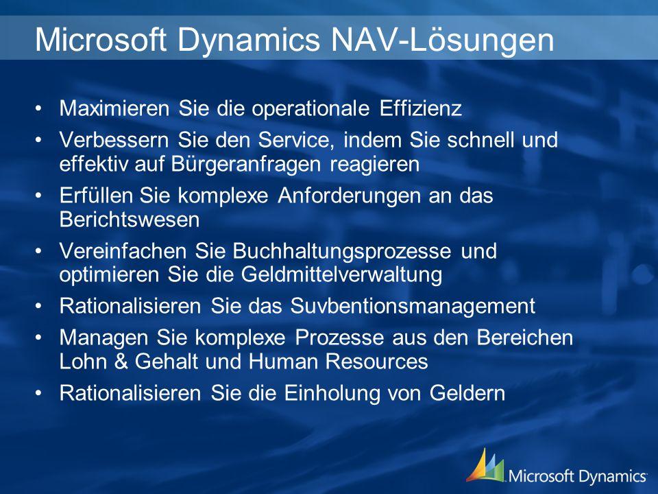 Microsoft Dynamics NAV-Lösungen Maximieren Sie die operationale Effizienz Verbessern Sie den Service, indem Sie schnell und effektiv auf Bürgeranfrage