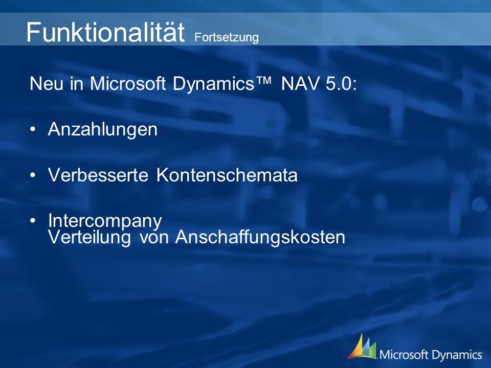 Neu in Microsoft Dynamics NAV 5.0: Anzahlungen Verbesserte Kontenschemata Intercompany Verteilung von Anschaffungskosten Funktionalität Fortsetzung