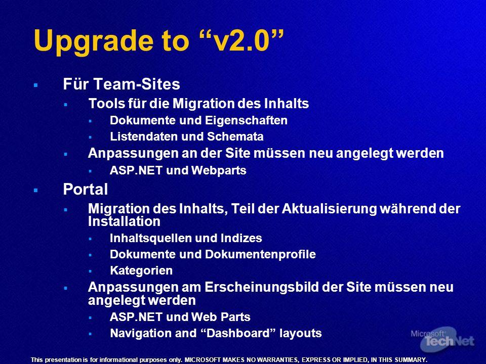 Upgrade to v2.0 Für Team-Sites Tools für die Migration des Inhalts Dokumente und Eigenschaften Listendaten und Schemata Anpassungen an der Site müssen