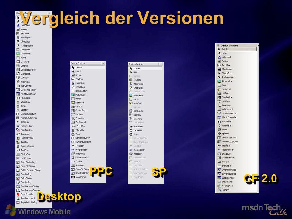 10 DesktopDesktop PPCPPC SPSP CF 2.0 Vergleich der Versionen