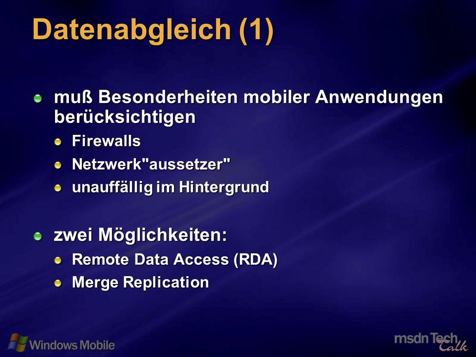 23 Datenabgleich (1) muß Besonderheiten mobiler Anwendungen berücksichtigen FirewallsNetzwerk aussetzer unauffällig im Hintergrund zwei Möglichkeiten: Remote Data Access (RDA) Merge Replication