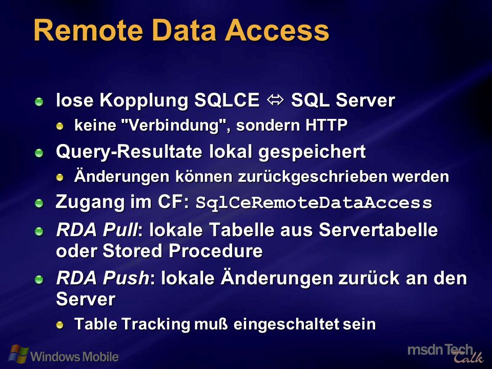 25 Remote Data Access lose Kopplung SQLCE SQL Server keine