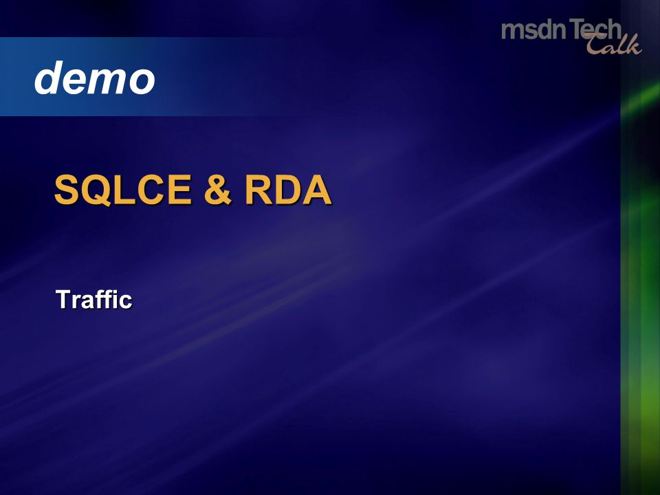 Traffic demo SQLCE & RDA