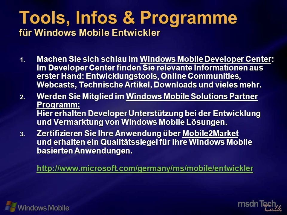 33 Tools, Infos & Programme für Windows Mobile Entwickler 1. Machen Sie sich schlau im Windows Mobile Developer Center: Im Developer Center finden Sie