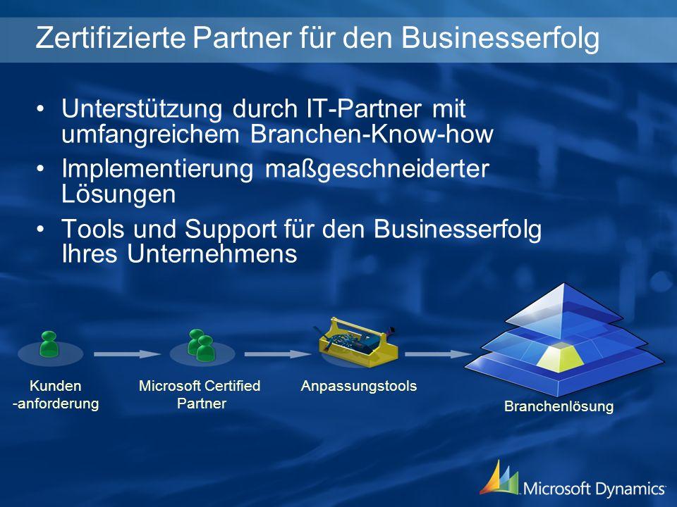 Kunden -anforderung Microsoft Certified Partner Anpassungstools Branchenlösung Zertifizierte Partner für den Businesserfolg Unterstützung durch IT-Partner mit umfangreichem Branchen-Know-how Implementierung maßgeschneiderter Lösungen Tools und Support für den Businesserfolg Ihres Unternehmens