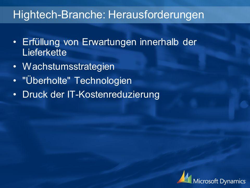 Hightech-Branche: Herausforderungen Erfüllung von Erwartungen innerhalb der Lieferkette Wachstumsstrategien Überholte Technologien Druck der IT-Kostenreduzierung