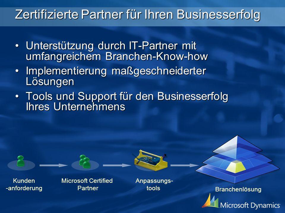 Kunden -anforderung Microsoft Certified Partner Anpassungs- tools Branchenlösung Zertifizierte Partner für Ihren Businesserfolg Unterstützung durch IT-Partner mit umfangreichem Branchen-Know-howUnterstützung durch IT-Partner mit umfangreichem Branchen-Know-how Implementierung maßgeschneiderter LösungenImplementierung maßgeschneiderter Lösungen Tools und Support für den Businesserfolg Ihres UnternehmensTools und Support für den Businesserfolg Ihres Unternehmens