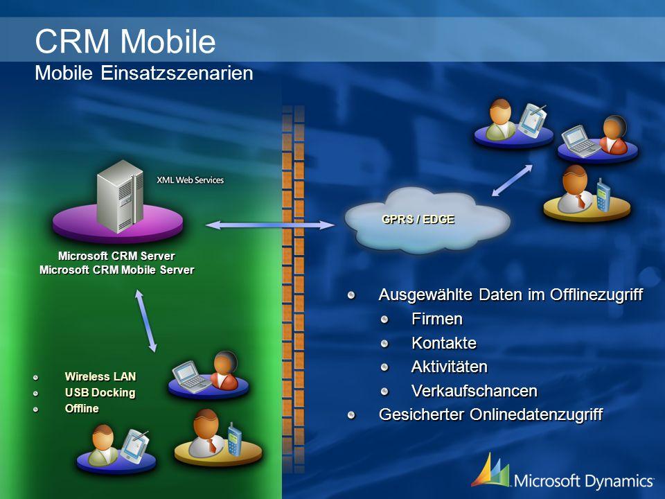 Microsoft CRM Server Microsoft CRM Server Microsoft CRM Mobile Server Microsoft CRM Mobile Server Ausgewählte Daten im Offlinezugriff FirmenKontakteAk