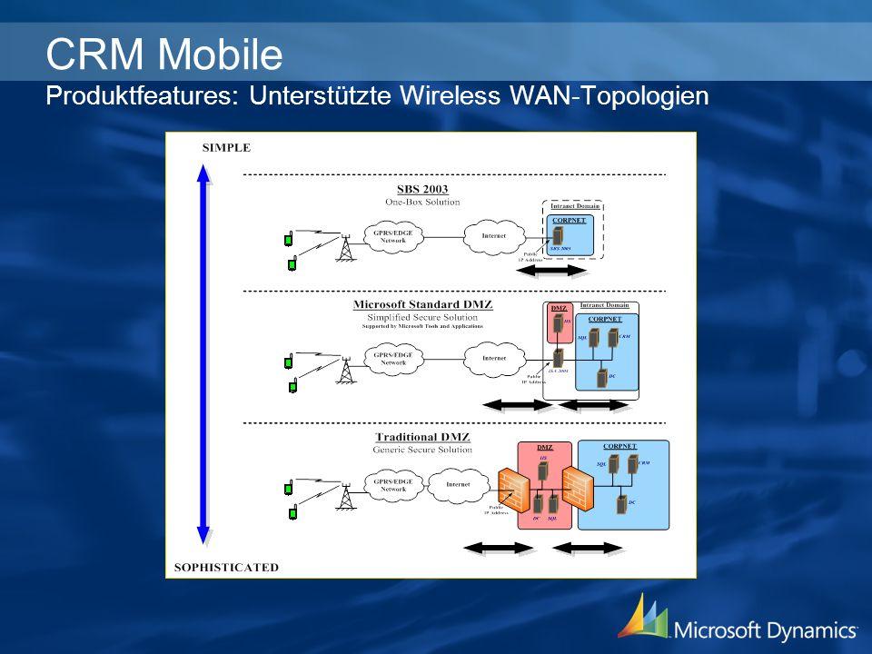 CRM Mobile Produktfeatures: Unterstützte Wireless WAN-Topologien