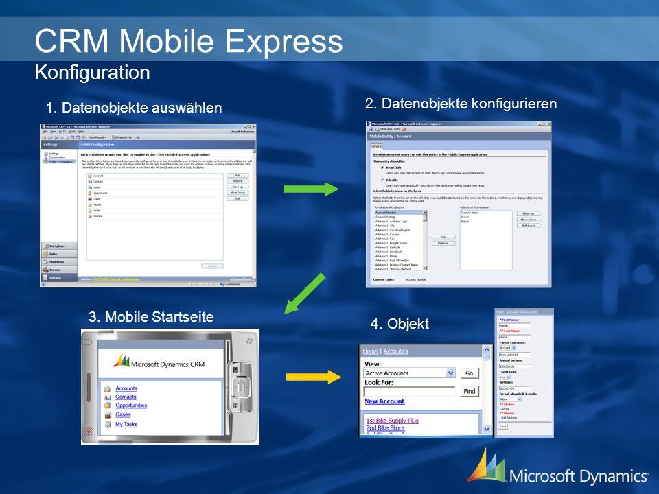 CRM Mobile Express Konfiguration 1. Datenobjekte auswählen 2. Datenobjekte konfigurieren 3. Mobile Startseite 4. Objekt