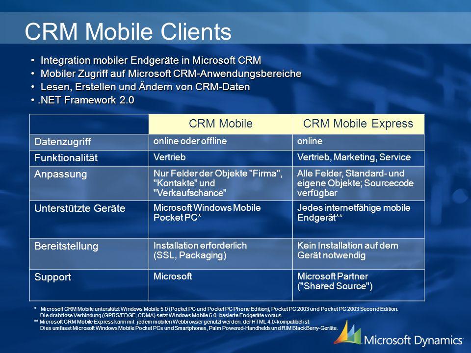 CRM Mobile für Microsoft Dynamics CRM 3.0 Offlinezugriff –Auch ohne Verbindung jederzeit Zugriff auf Kunden, Kontakte und Verkaufschancen in Microsoft CRM Datensynchronisation –Synchronisation mit dem CRM Server kann via PC-Verbindung oder drahtlos über das Mobilfunknetz erfolgen Zu jeder Zeit und an jedem Ort Zugriff auf Kunden, Kontakte und Verkaufschancen über Microsoft CRM auf Ihrem Windows Mobile Pocket PC