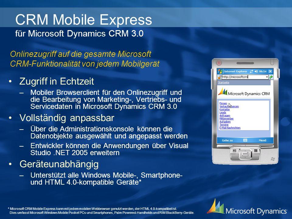 CRM Mobile Express für Microsoft Dynamics CRM 3.0 Zugriff in Echtzeit –Mobiler Browserclient für den Onlinezugriff und die Bearbeitung von Marketing-,