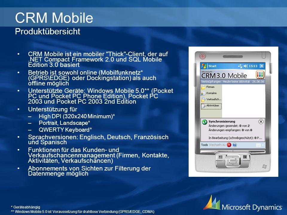 Microsoft CRM Server Microsoft CRM Server Microsoft CRM Mobile Server Microsoft CRM Mobile Server Ausgewählte Daten im Offlinezugriff FirmenKontakteAktivitätenVerkaufschancen Gesicherter Onlinedatenzugriff Wireless LAN USB Docking Offline GPRS / EDGE CRM Mobile Mobile Einsatzszenarien