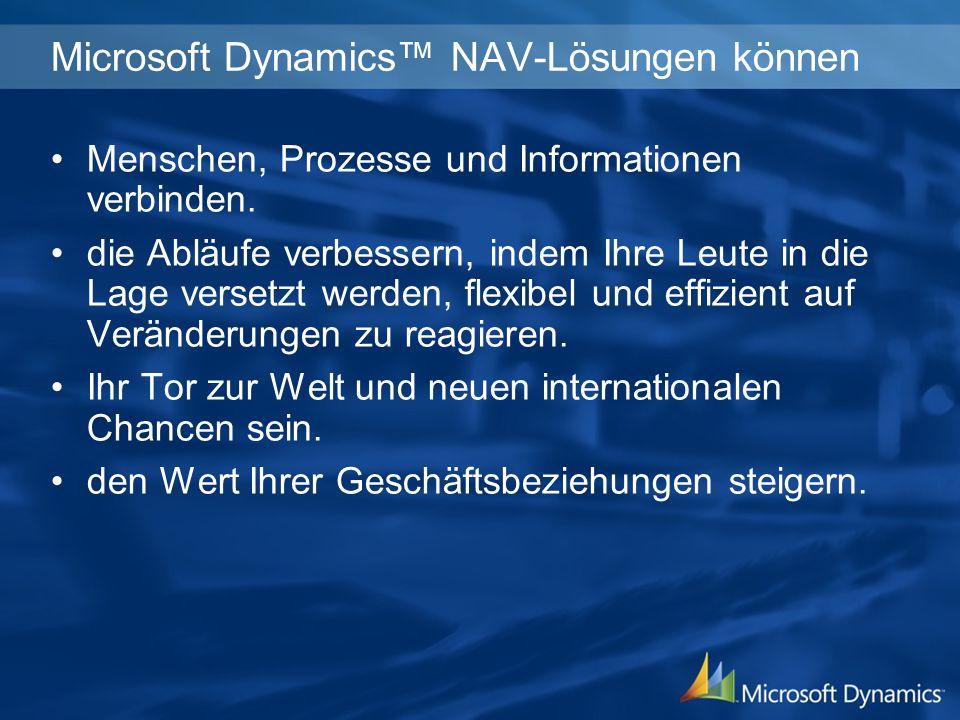 Microsoft Dynamics NAV-Lösungen können Menschen, Prozesse und Informationen verbinden.