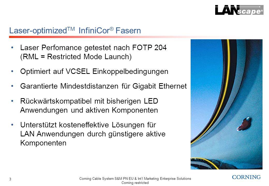 Corning Cable System S&M PN EU & Intl Marketing Enterprise Solutions Corning restricted 14 Laser Performance getestet mit DMD-Messung (Differential Mode Delay) Spezifiziert auf die unterschiedlichen VCSEL- Einkoppelcharakteristiken EF (Encircled Flux) angegeben als EMB (Effective Modal Bandwidth) Garantierte Minimaldistanzen für 10GbE Rückwärtskompatibel mit bisherigen LED Anwendungen und aktiven Komponenten Unterstützt kosteneffektive Gesamtlösungen, z.B.