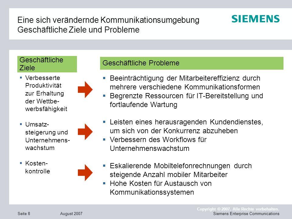 August 2007 Copyright © 2007. Alle Rechte vorbehalten. Siemens Enterprise CommunicationsSeite 8 Eine sich verändernde Kommunikationsumgebung Geschäftl