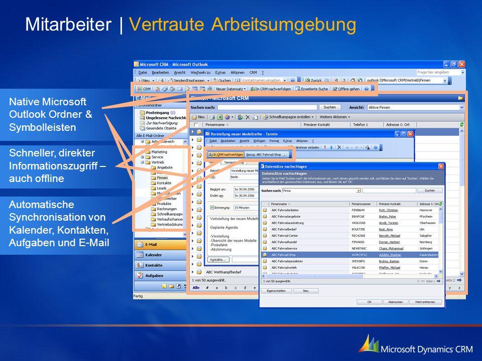 Native Microsoft Outlook Ordner & Symbolleisten Schneller, direkter Informationszugriff – auch offline Automatische Synchronisation von Kalender, Kont