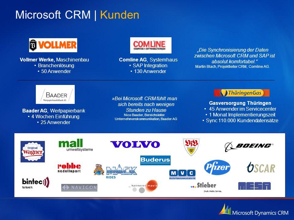 Comline AG, Systemhaus SAP Integration 130 Anwender Vollmer Werke, Maschinenbau Branchenlösung 50 Anwender Die Synchronisierung der Daten zwischen Mic